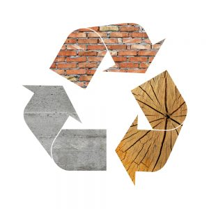 Illustration,Recycling,Symbol,Of,Different,Industrial,Construction,Materials,,Concrete,,Wood